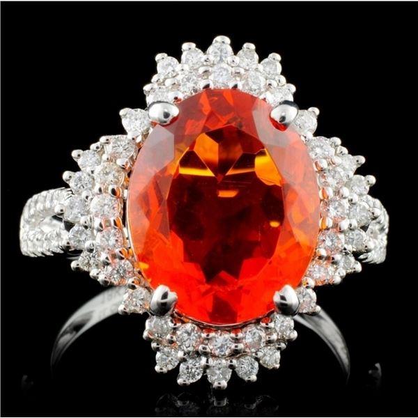 18K Gold 3.25ct Fire Opal & 0.54ct Diamond Ring