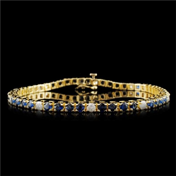 14K Gold 4.62ctw Sapphire & 0.82ctw Diamond Bracel
