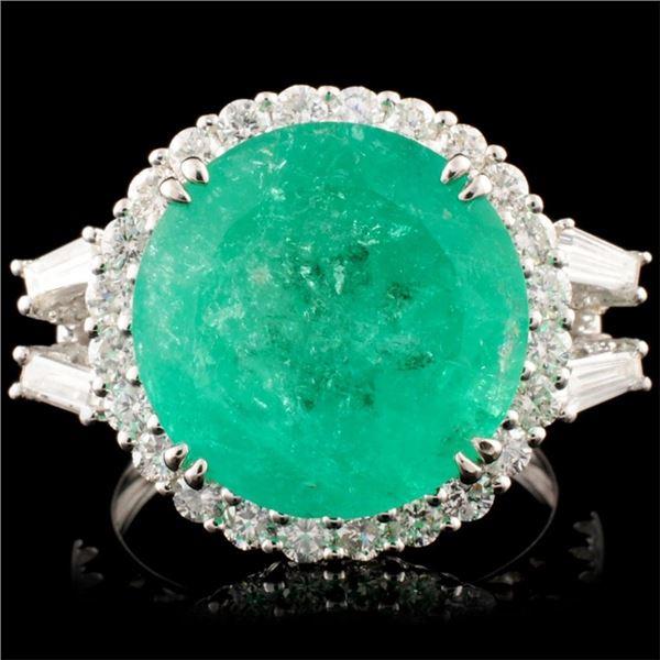 18K Gold 8.14ct Emerald & 1.40ctw Diamond Ring