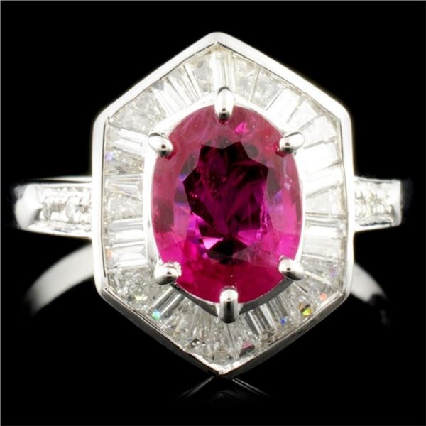 18K Gold 1.12ct Ruby & 0.44ctw Diamond Ring