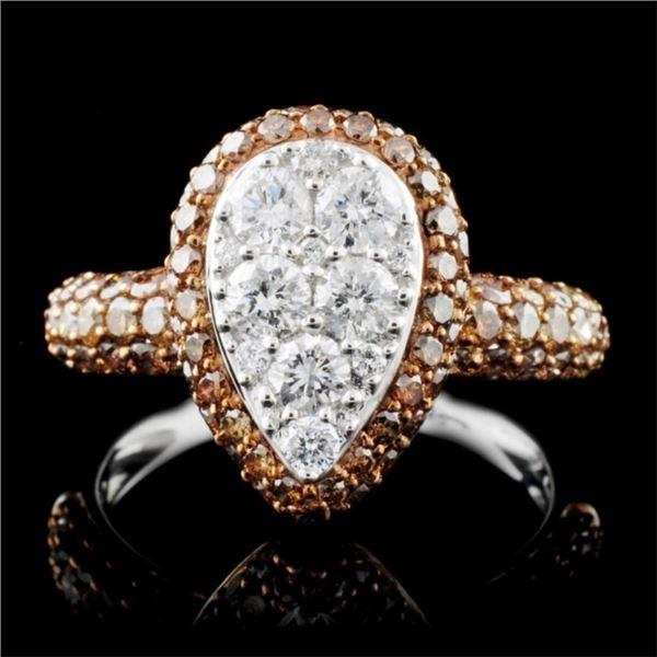 14K White Gold 1.66ctw Fancy Color Diamond Ring