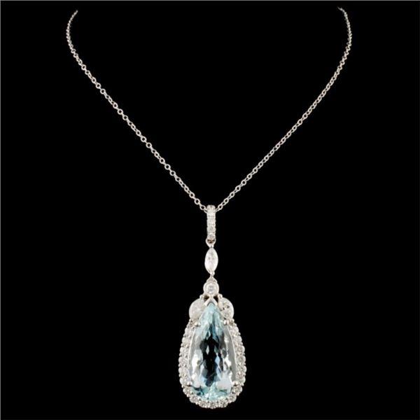 18K Gold 9.30ct Aquamarine & 1.00ctw Diamond Penda