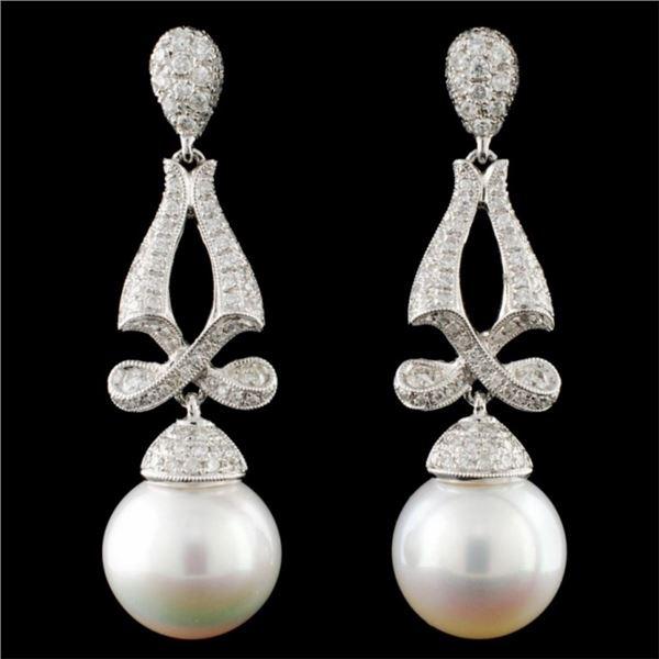 14K Gold South Sea Pearl & 1.18ctw Diamond Earring