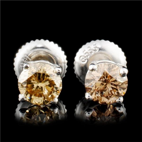 14K Gold 0.88ctw Diamond Earrings