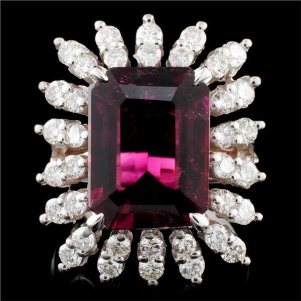14K Gold 5.85ct Tourmaline & 1.40ctw Diamond Ring