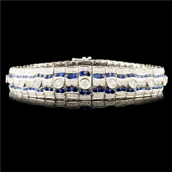 18K Gold 3.11ct Sapphire & 2.88ctw Diamond Bracele
