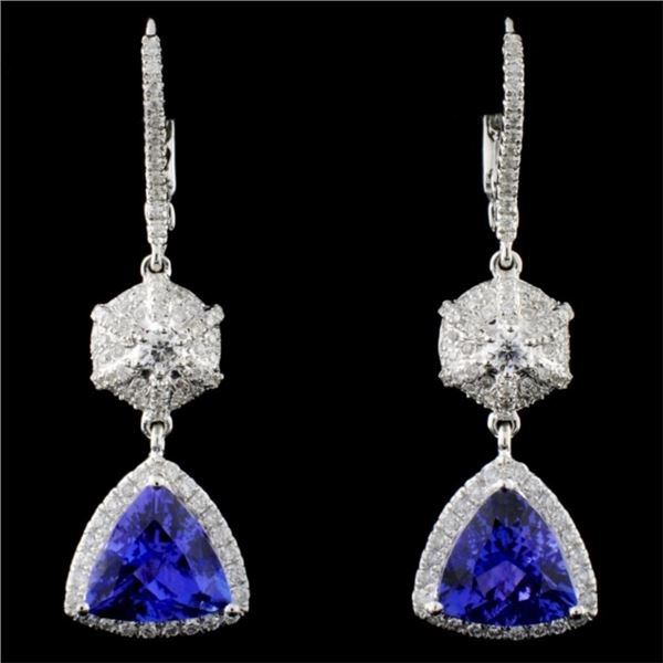 18K Gold 3.84ct Tanzanite & 0.73ct Diamond Earring