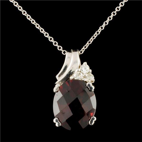 14K Gold 5.10ctw Garnet & 0.11ctw Diamond Pendant