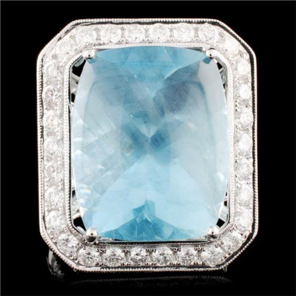 18K Gold 20.84ct Aquamarine & 1.68ctw Diamond Ring