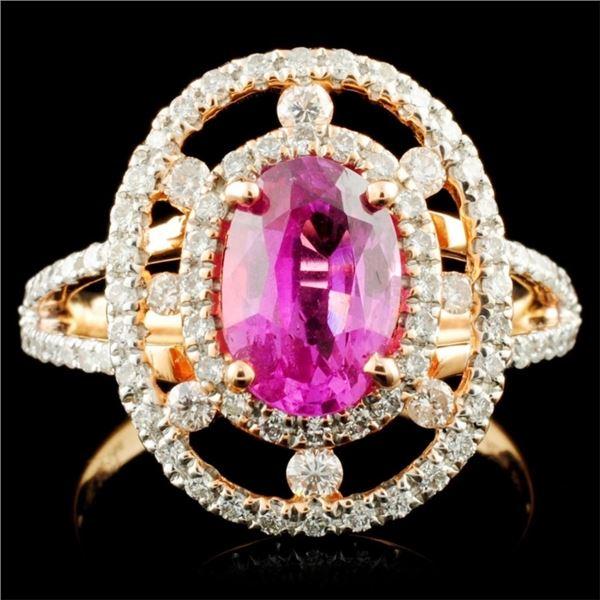 18K Gold 1.90ct Sapphire & 0.72ctw Diamond Ring