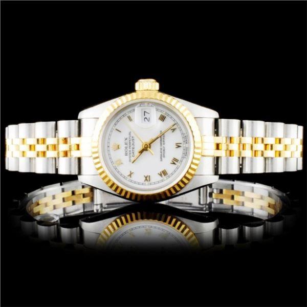 Rolex YG/SS DateJust Ladies Roman Ivory Wristwatch