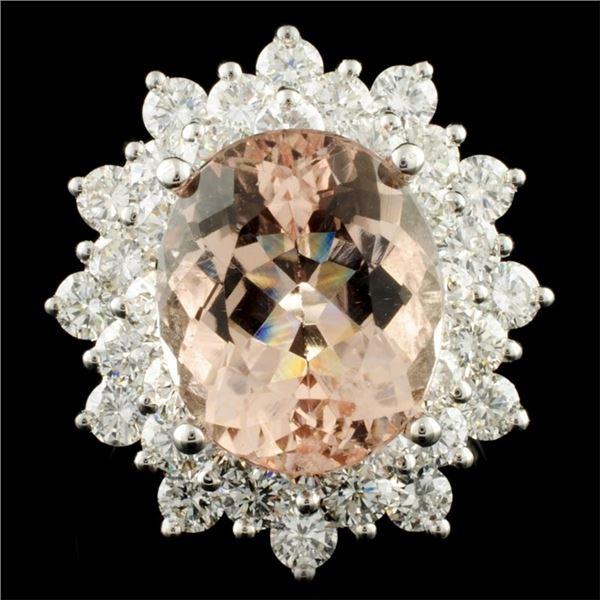 14K Gold 6.45ct Morganite & 2.70ctw Diamond Ring