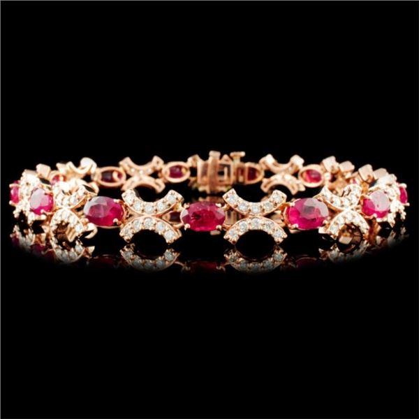 14K Gold 8.50ctw Ruby & 1.85ctw Diamond Bracelet