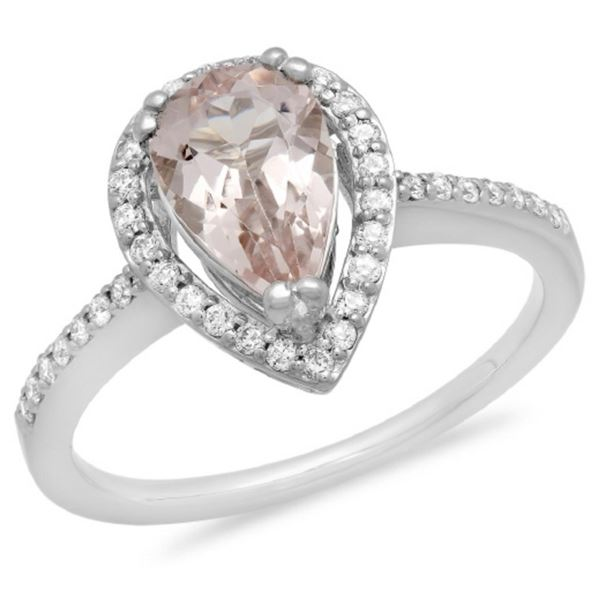 14K Gold 1.50ct Morganite & 0.25ct Diamond Ring