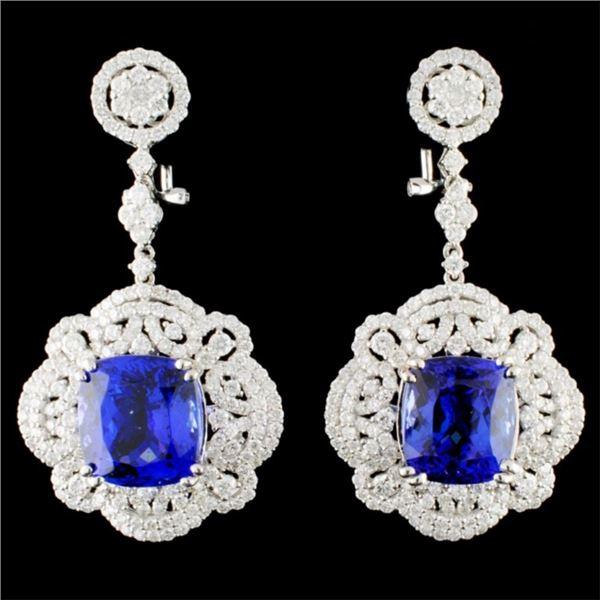 18K Gold 16.98ctw Tanzanite & 4.55ctw Diamond Earr