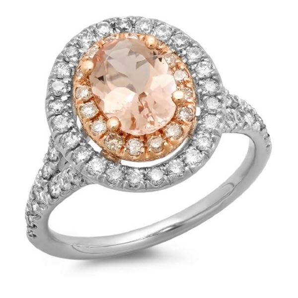 14K Gold 1.50ct Morganite & 0.75ct Diamond Ring