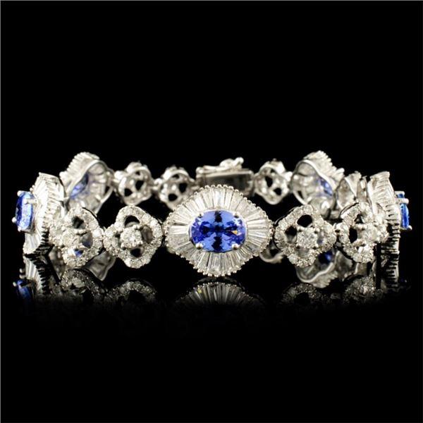 18K Gold 3.55ct Tanzanite & 4.81ctw Diamond Bracel