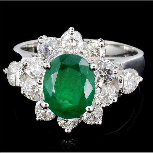 14K Gold 3.00ct Emerald & 1.20ctw Diamond Ring