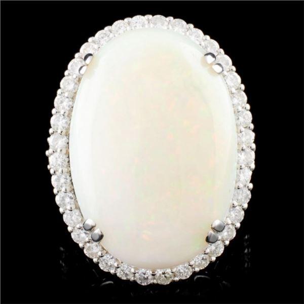 18K Gold 22.53ct Opal & 1.68ctw Diamond Ring