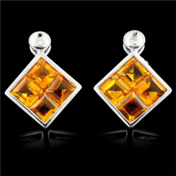 14K Gold 4.00ctw Citrine & 0.03ctw Diamond Earring