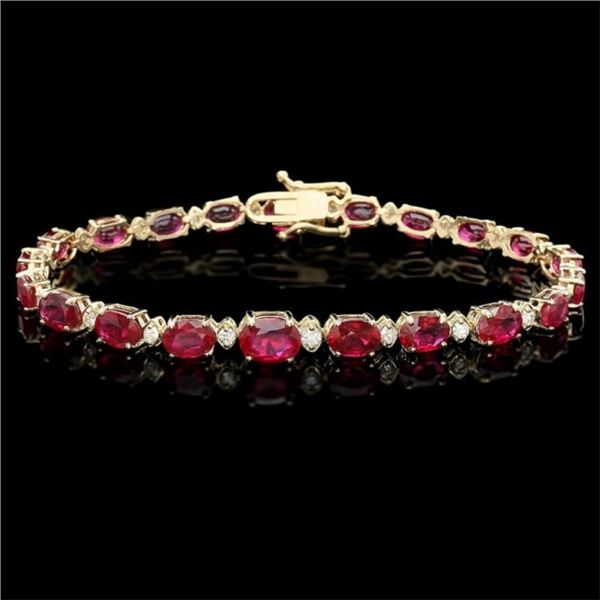 14k Gold 17.00ct Ruby & 0.70ct Diamond Bracelet