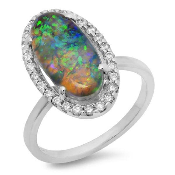 14K Gold 3.00ct Opal & 0.35ct Diamond Ring