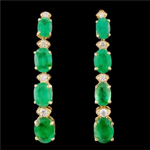14K Gold 6.50ct Emerald & 0.35ctw Diamond Earrings