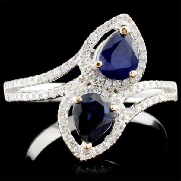 18K Gold 0.96ct Sapphire & 0.26ctw Diamond Ring
