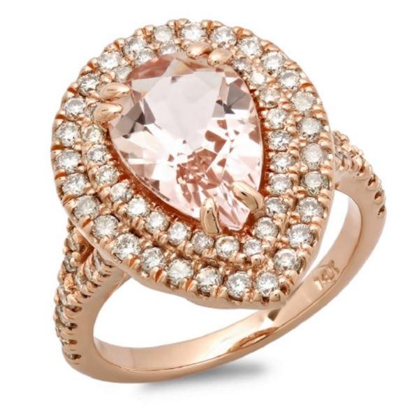 14K Gold 3.00ct Morganite & 1.00ct Diamond Ring