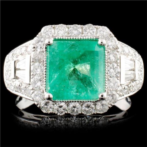 18K Gold 2.13ct Emerald & 1.11ctw Diamond Ring