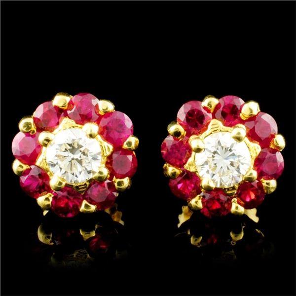 18K Gold 1.30ctw Ruby & 0.49ctw Diamond Earrings