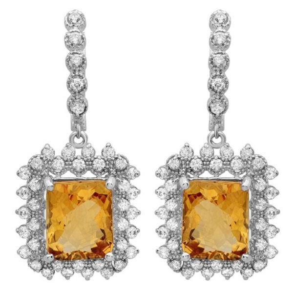14K Gold 11.50ct Citrine & 2.00ct Diamond Earrings