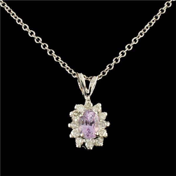 14K Gold 0.40ct Sapphire & 0.17ctw Diamond Pendant