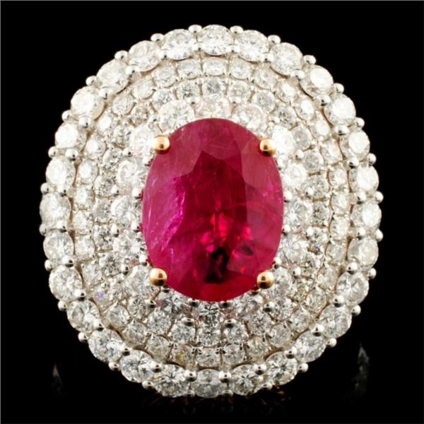 18K Gold 2.23ct Ruby & 2.56ctw Diamond Ring