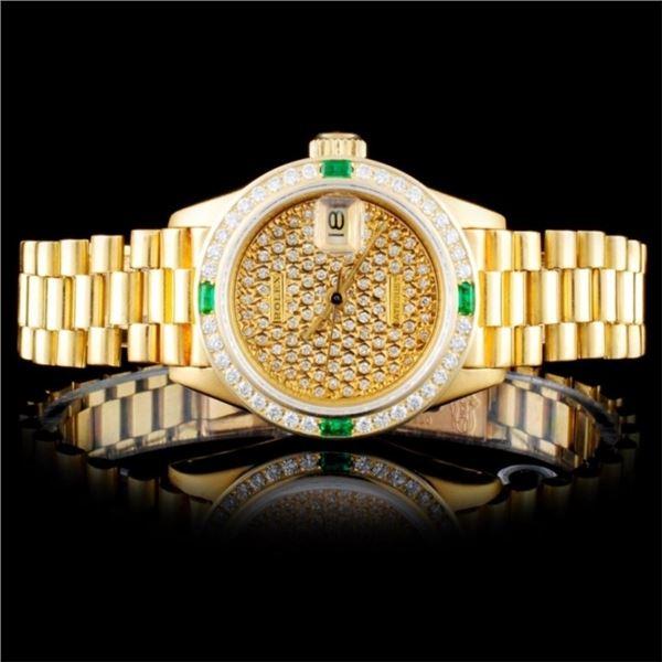 Rolex 18K YG DateJust Diamond Ladies Watch