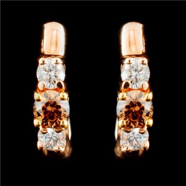 14K Gold 0.51ctw Fancy Color Diamond Earrings