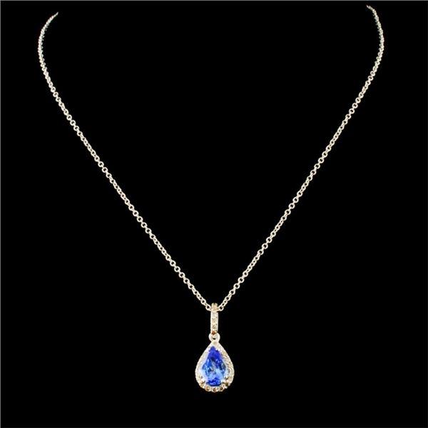 14K Gold 0.68ct Tanzanite & 0.22ctw Diamond Pendan