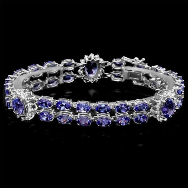 `14k Gold 21.00ct Tanzanite & 1.55ct Diamond Brace