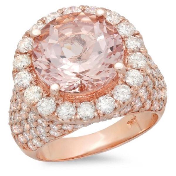 14K Gold 6.00ct Morganite & 3.50ct Diamond Ring