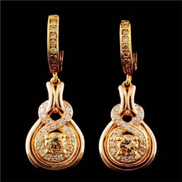 14K Gold 0.61ctw Diamond Earrings