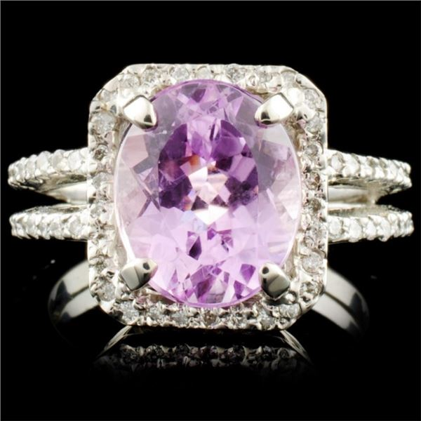 14K Gold 4.18ct Kunzite & 0.44ctw Diamond Ring