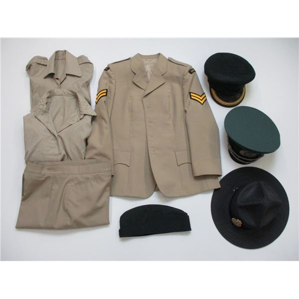 ASSORTED MILITARY/POLICE CLOTHING/HATS