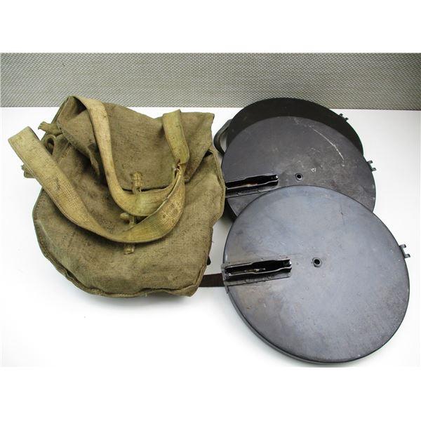 RUSSIAN DP-27 MACHINE GUN CANVAS MAGAZINE BAG WITH 3 PAN MAGAZINES