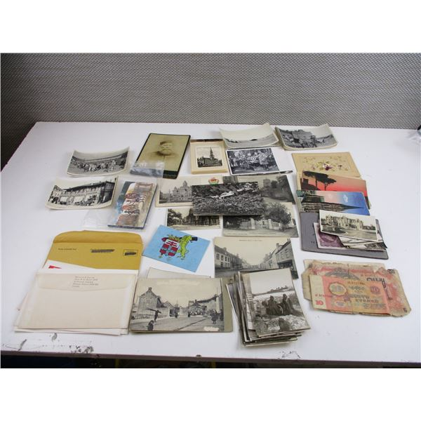 ASSORTED POSTCARDS, PICTURES ETC LOT