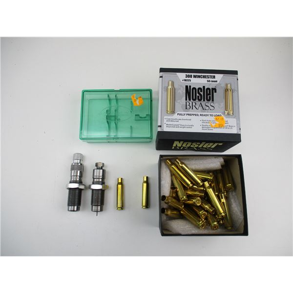 ASSORTED BRASS AND RELOADING DIE LOT