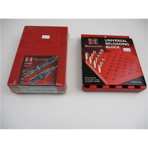 HORNADY RELOADING DIES AND TRAY