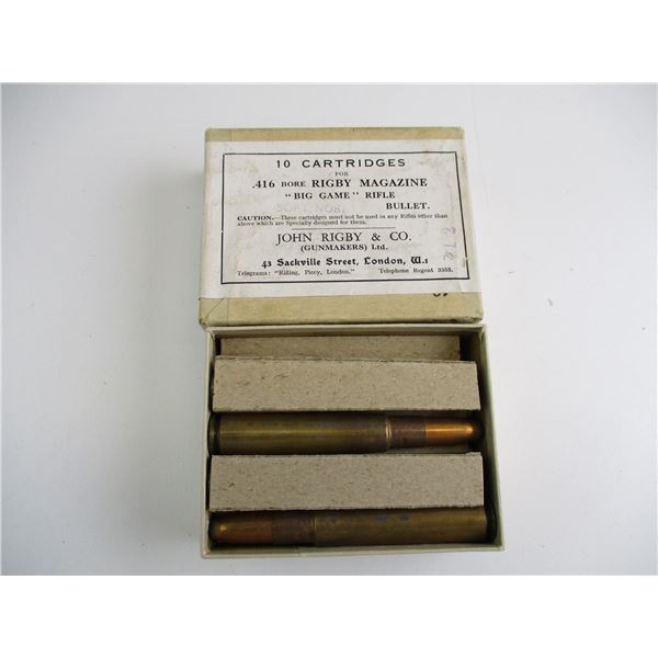 JOHN RIGBY & CO .416 BORE COLLECTIBLE AMMO