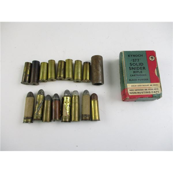 ASSORTED .577 SNIDER COLLECTIBLE AMMO AND BRASS CASE LOT