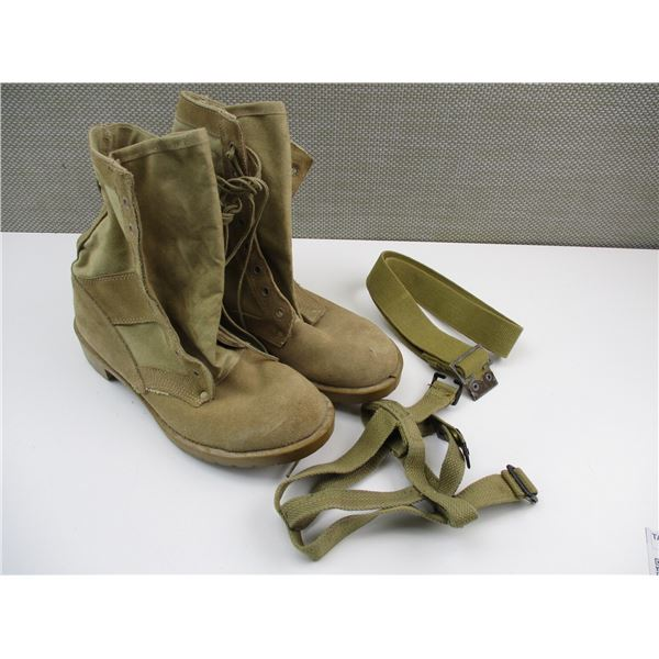 TAN MILITARY STYLE BOOTS WITH CANVAS STRAPS