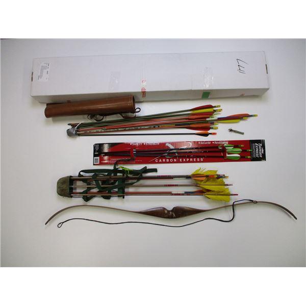 BEN PEARSON BRONCO 7010 RECURVE BOW + ARROWS AND QUIVERS